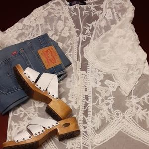 Blue Rain lace kimono maxi sz M ivory